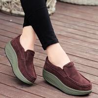套脚摇摇鞋女厚底单鞋一脚蹬松糕鞋春季妈妈鞋坡跟轻软底女鞋 咖啡色 2122套脚咖啡色