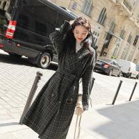 毛呢外套女中长款2018冬季韩版流行赫本格子呢子大衣学生过膝森系