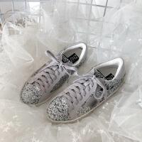小脏鞋女2018秋冬百搭韩版系带平底板鞋星星鞋加绒亮片鞋