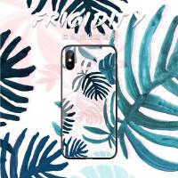 创意树叶苹果6splus手机壳6六ins网红iphoneX钢化玻璃7p文艺清新冷淡风8个性创意Xs Max软边8plu