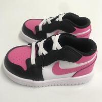 耐克�和� NIKE Air Jordan 1 AJ1黑粉 小童����鞋�@球鞋 CD7227-106