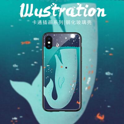 可爱蓝鲸苹果8plus手机壳潮男新款iPhone6splus保护套6个性创意7网红明星同款7plus情侣款xr女xs max网红同款