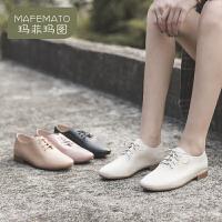 玛菲玛图小皮鞋女2020新款软底鞋低跟真皮鞋白色休闲孕妇软皮透气妈妈单鞋1686-1L