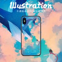 空中翻腾的蓝鲸苹果8plus手机壳网红明星同款iPhone7保护套6splus个性创意潮款xr绘画xs max新年款8