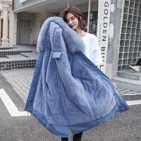 韩版中长款宽松bf显瘦外套秋冬季孕妇装棉衣