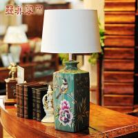 报喜鸟 欧式方形台灯彩绘陶瓷田园创意卧室床头婚庆客厅装饰灯具