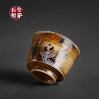 景德镇功夫茶杯单杯品茗杯手绘大号主人杯喝茶个人中式窑变陶瓷器礼品