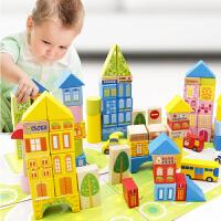 大块木质玩具100粒桶装城市交通场景积木木制益智早教儿童
