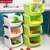 百露塑料水果蔬菜架子厨房置物架储物架厨房收纳架整理架收纳篮加厚3层