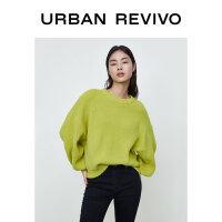 UR2020冬季新品女装宽松休闲圆领泡泡袖针织毛衣WH43R9BE2000