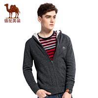 骆驼男装 秋季新款宽松加厚开衫微弹带帽男士毛衣纯色男上衣