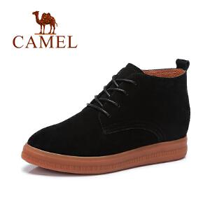 Camel/骆驼短靴简约舒适系带加绒保暖平底女靴马丁靴