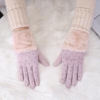 触屏手套女秋冬可爱韩版学生加绒加厚骑车保暖开车防滑麂皮绒手套 浅紫色 爱心毛圈五指手套 均码