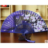 日式折扇中国风女式绢扇子樱花古风跳舞蹈小扇礼品  可礼品卡支付