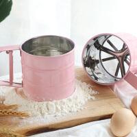不锈钢筛子面粉筛手持半自动网烘焙圆形糖粉杯式超细过滤网筛家用