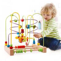 木丸子木制儿童串珠 大号榉木动物水果绕珠益智 玩具 手眼协调