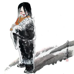 【陕西国画院国家一级美术师 王有政《人物》 LL213】