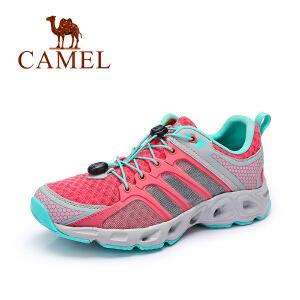 Camel/骆驼女鞋 舒适休闲 PU/单层网系带户外女鞋 潮流运动鞋新品