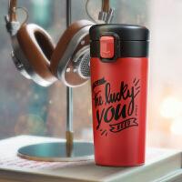 【1件3折】Bianli鲤集 304不锈钢咖啡杯子创意带盖情侣便携随行车载商务保温杯 350ml 052878