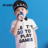 【秒杀价:89元】马拉丁童装男童短袖夏装2018新款翻领字母撞色胶印时尚儿童T恤