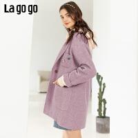 Lagogo/拉谷谷2019年冬季新款时尚显气质毛呢大衣女ICDD239G18