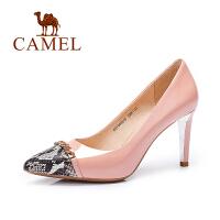 Camel/骆驼女鞋 时尚性感尖头牛漆皮高跟单鞋 春新品