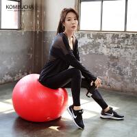 【到手价169】Kombucha瑜伽健身服2018新款女士性感拼纱透气修身显瘦宽松长袖罩衫文胸长裤三件套HXF33906T3