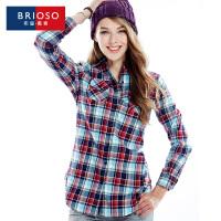 BRIOSO 2017春装新款 时尚韩版修身中长款女式格子衬衫 对格磨毛长袖衬衫 街拍时尚百搭衬衣 WE12295