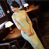 蕾丝旗袍长款优雅改良新款女走秀演出连衣裙长袖 青草绿 657