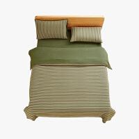 当当优品家纺 全棉日式针织床品 1.8米床 床笠四件套 条纹草绿