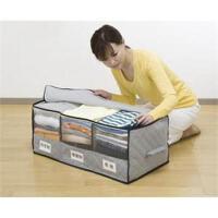 卡秀竹炭收纳带视窗分类三格衣物收纳箱 AP100