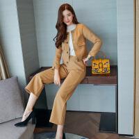 新款九分阔腿裤套装中长款韩版冬装名媛时尚气质短外套两件套女