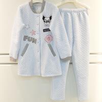 新女士秋冬睡衣睡衣新款秋冬可爱时尚女士彩纱针织夹层棒球服中长款家居服