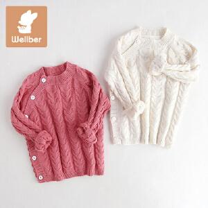 威尔贝鲁 宝宝开衫毛衣 儿童针织衫 秋冬女童毛衣毛衣外套 冬厚款