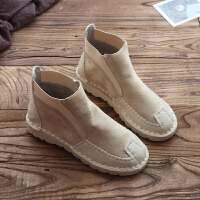 软底女靴秋女鞋森系文艺复古女短靴子手工舒适日系女靴子加绒 米色 单款