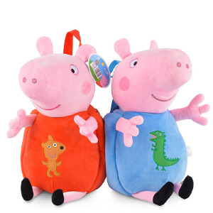 【满199立减100】小猪佩奇乔治 男女童宝宝儿童书包幼儿园男女孩卡通双肩背包毛绒玩具
