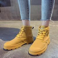 E6马丁靴2019夏季韩版中高筒靴子休闲单靴女透气圆头英伦风潮 黄色 35