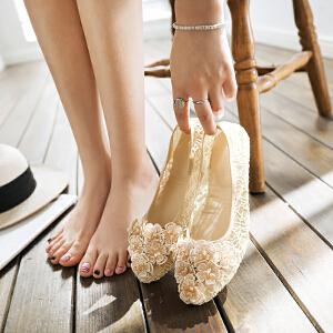 O'SHELL欧希尔新品057-1704韩版平底鞋女士豆豆鞋