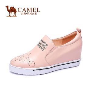 Camel/骆驼女鞋 潮流时尚休闲 牛皮圆头内增高百搭高跟女单鞋