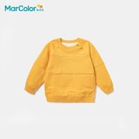 巴拉巴拉旗下马卡乐童装冬季新款中性特殊针法拼接加绒保暖抗菌防滑毛衫