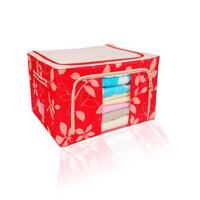 单窗66L牛津布百纳箱 有盖收纳盒 整理箱 超大号 收纳箱 树叶红色