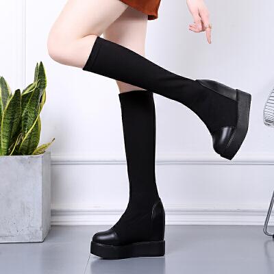 女靴春秋单靴厚底内增高小个子袜靴坡跟高跟中筒靴弹力瘦瘦靴长靴 黑色 中筒靴单里