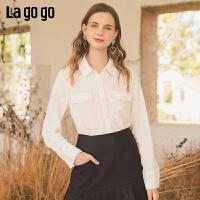 Lagogo2019年秋季新款白色雪纺衬衫女长袖气质百搭上衣ICCC438C15