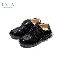 【券后价:136.9元】他她Tata童鞋秋季女童皮鞋布洛克雕花礼仪鞋男童黑色皮鞋