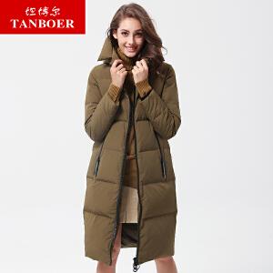 坦博尔2017新款冬季中长款羽绒服女连帽大口袋韩版羽绒服TB17732