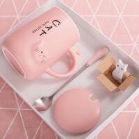 可爱萌杯子女陶瓷创意个性咖啡杯潮情侣家用水杯马克杯带盖勺