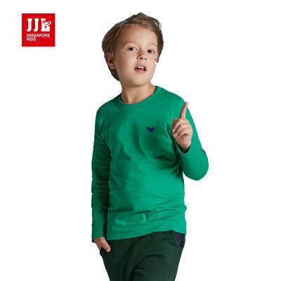 季季乐男童T恤长袖2016新款中大童纯棉圆领春秋款长袖9-11岁纯色童装上衣BQT61030专柜同款
