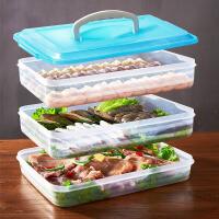 饺子盒 家用手提饺子盒多层饭盒冰箱保鲜盒出门旅行便携多用途收纳盒烧烤野餐盒