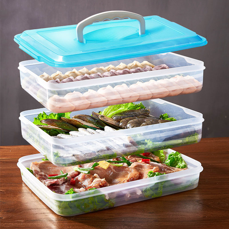 饺子盒 家用手提饺子盒多层饭盒冰箱保鲜盒出门旅行便携多用途收纳盒烧烤野餐盒 便携手提多用途收纳野餐盒