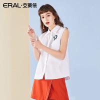 ERAL/艾莱依短袖衬衫女2018夏季韩版时尚百搭刺绣衬衫617031004